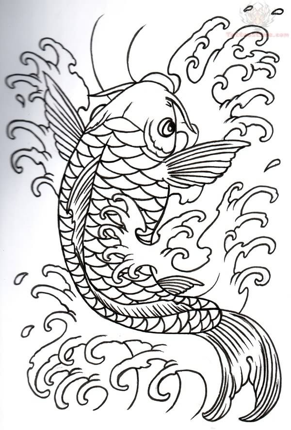 Koi fish drawing outline - photo#36