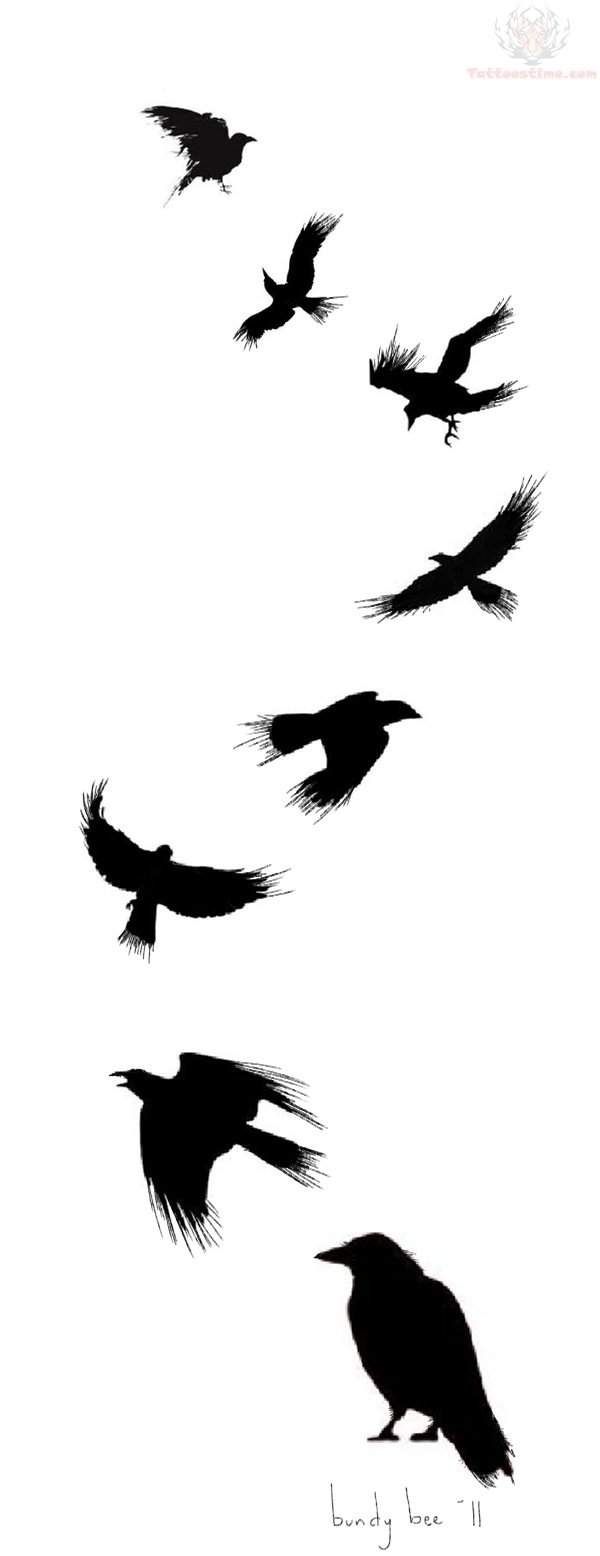 Flying crow tattoos - photo#2