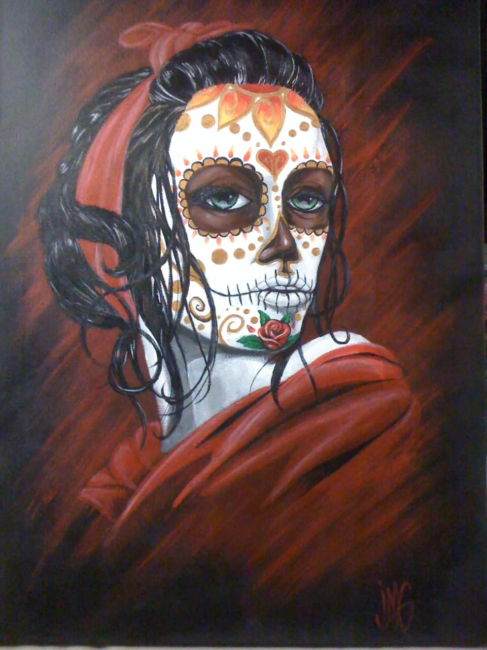 Beautiful Sugar Skull Lady Dia De Los Muertos Tattoo