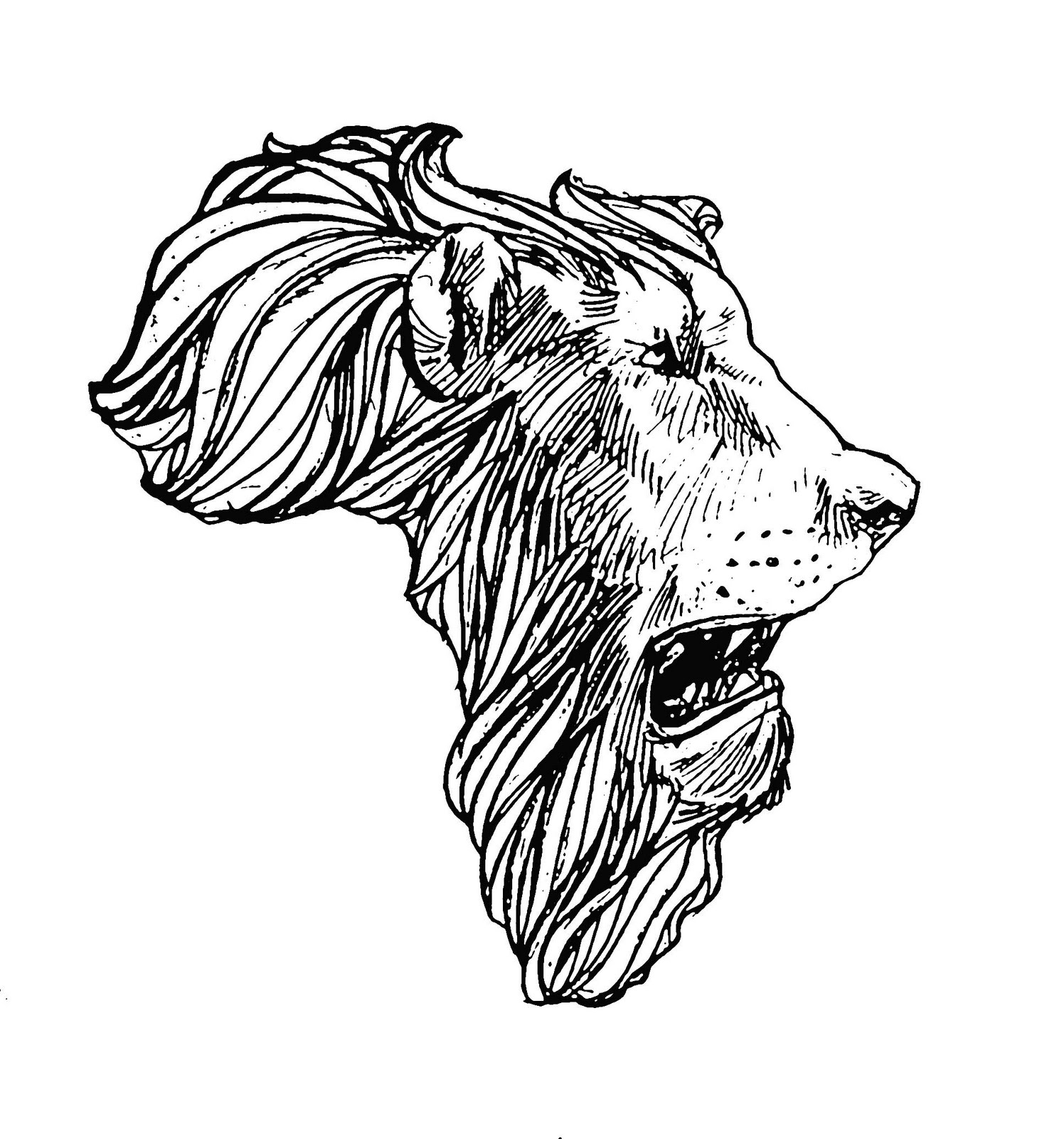 African Lion Head Map Tattoo Design African Lion Footprints