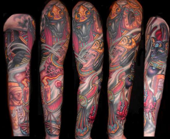 Egyptian tattoos arm designs