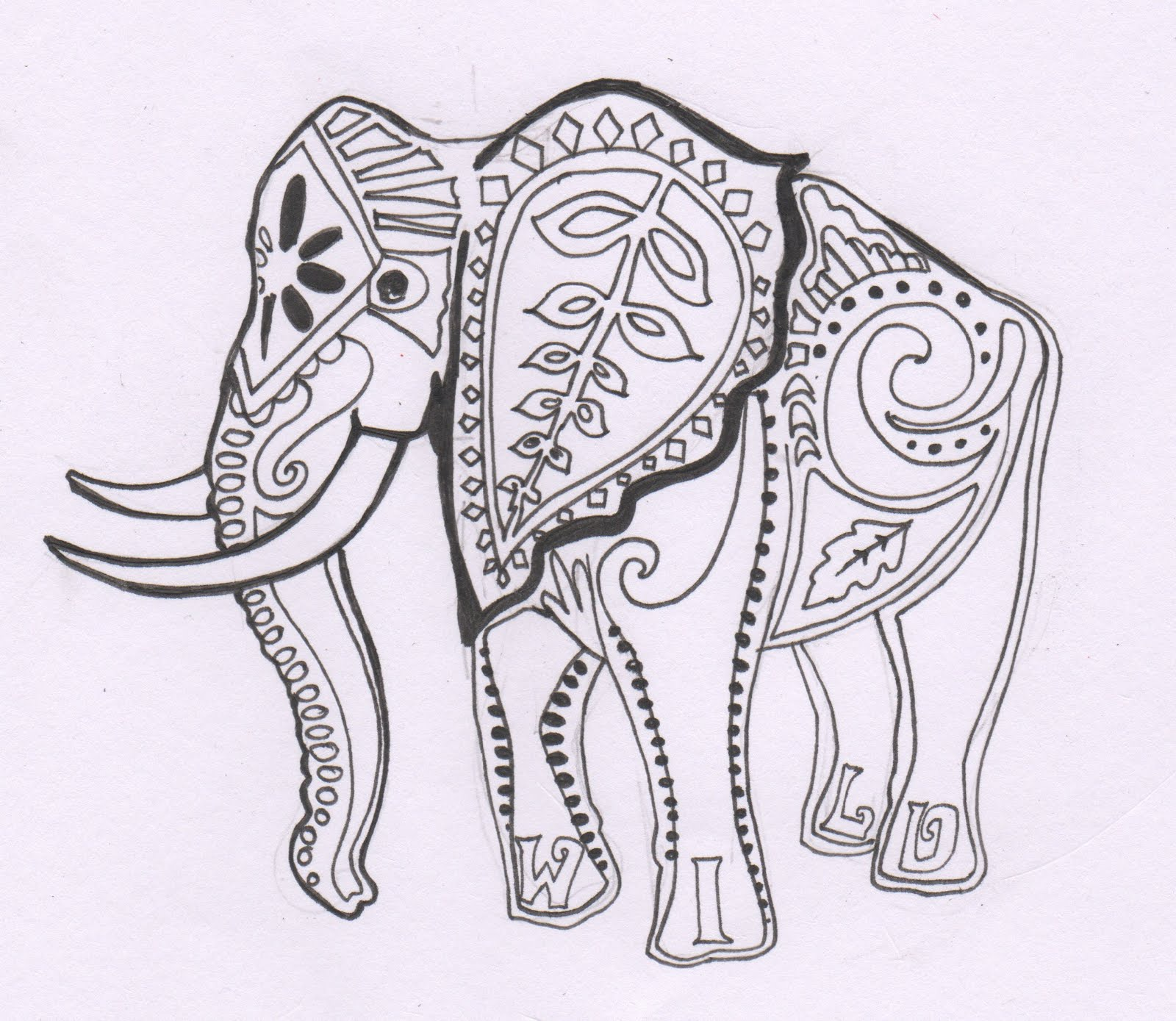 indian elephant drawin pic source - Coloring Pages Indian Elephants