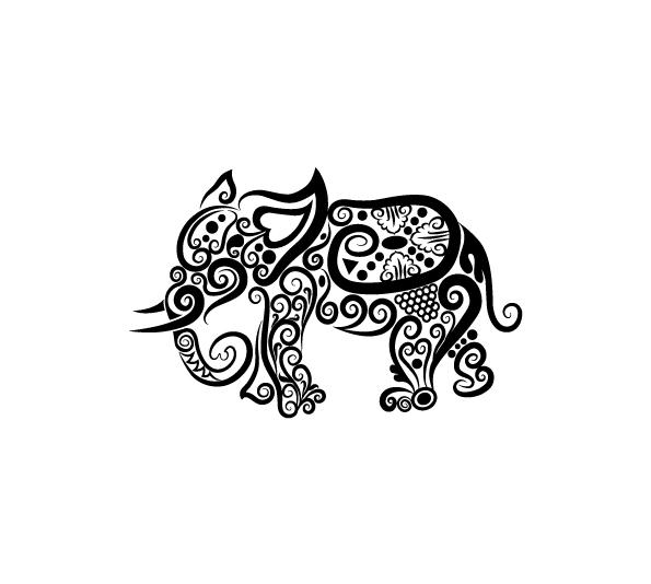 Draw An Elephant Zentangle Tribal Art