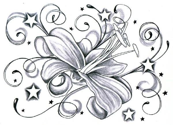 Stars And Grey Flower Tattoo Design