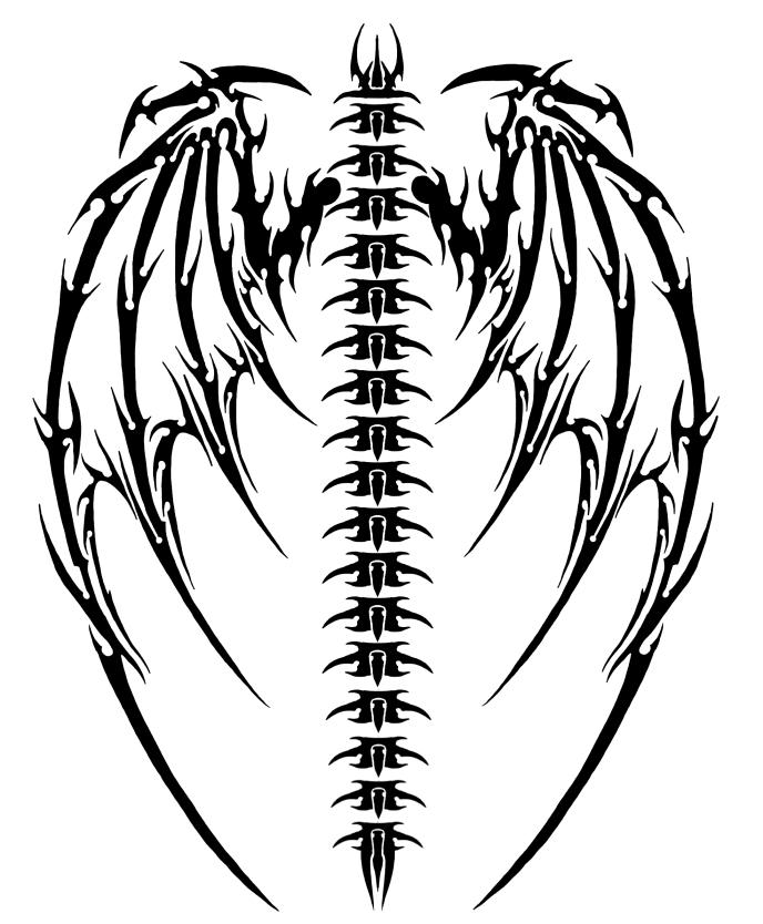 Tribal Devil Wings Tattoo Design