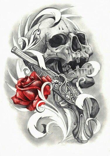 Skull and rose tattoo sleeve voorbeelden