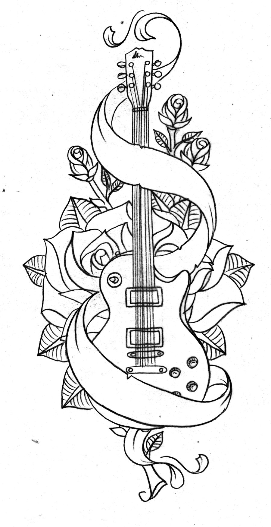 Roses Drawings With Hearts Rose And Banner Line Art