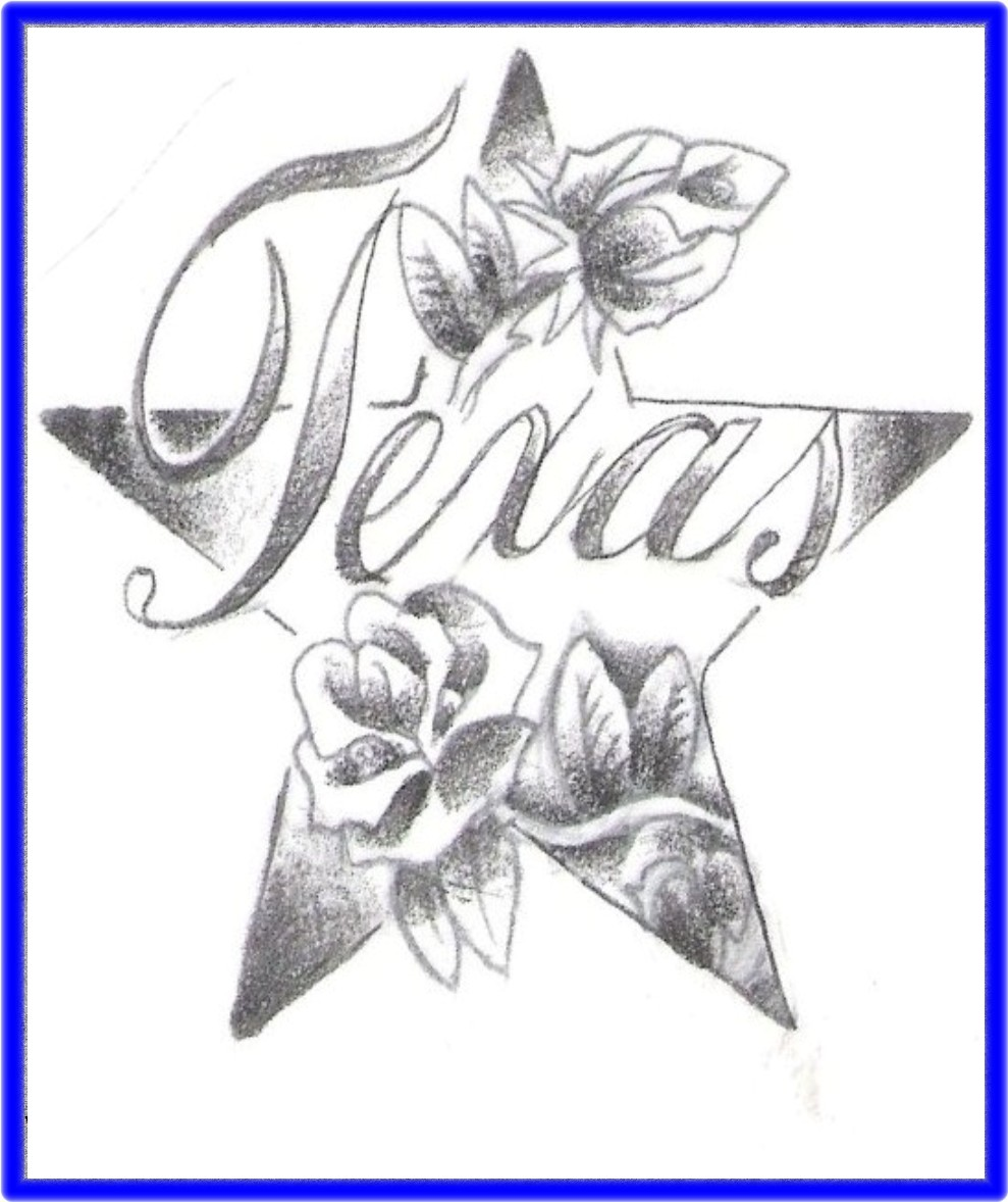 Attractive Rose Flowers And Texas Tattoo Design